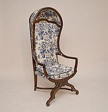 Hooded arm chair, blue and white upholstery, fine condition