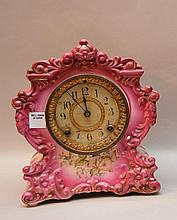 Ansonia porcelain footed clock, ca. 1900, 10