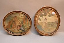 Two 19th c. English needlework framed pictures, painted faces, numerous style stitches (one cracked glass)