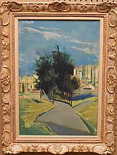 Joseph Floch (AMERICAN/AUSTRIAN, 1895-1977) oil on canvas, Modern Landscape with tree's and buildings, titled