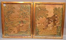 Pair 19th c. English needlework framed pictures