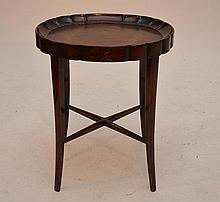 Custom mahogany occasional table, Harry Meyers Madison Ave NY label