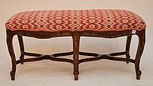 Carved walnut French bench with needlework seat cushion