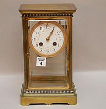 Brass and crystal regulator shelf clock with decorated face, 10