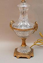 Bronze & Crystal Lamp with figural Ram's Heads.  Condition: good with minor normal wear.  Ht. 24