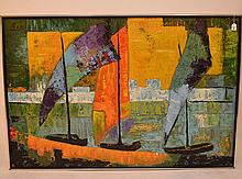 20th Century Large Modern Painting signed Pezzi, 40