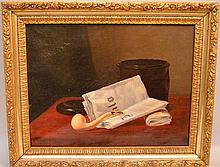 Attributed to William Michael Harnett  (American 1848 - 1892) oil on canvas, Still life w/ pipe, 15