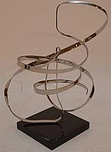 Michael Cutler Kinetic Abstract Chrome Sculpture, signed & dated '89, 26