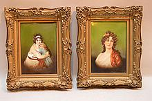 2 porcelain portrait plaques, mother and child and single female, 7 1/2