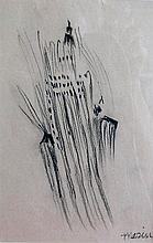 John Marin (Amer 1870-1953) Skyscraper DrawingDepicting an abstract skyscraper and light post; sight: 9