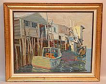 Emil Jean Kosa, Sr.  (American 1876 - 1955)  - oil on artist's canvas board, California fishing boats- possibly San Pedro, measuring  approx. 16