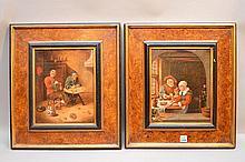 2 figural Interior scene paintings by Italian Artist Maffei, copies of masterpieces, after Van Kessel and after Van Hoogstraten