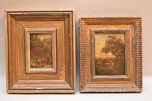 2 19th Century oil on panel landscapes with figures, 6