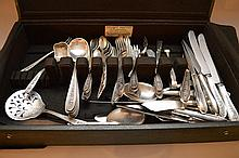 International sterling flatware set, Wedgwood pattern, incl; 12 dinner knives, 7 dinner forks, 12 teaspoons, 12 soup spoons, 11 butter knives, 12 small spoons, 6 dessert forks, 3 serving spoons and 7 assorted serving pieces, 76ozt (not including