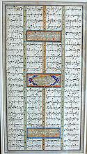 Fine Antique Illuminated Persian Book PageDesigned as 4 columns with 3 illuminated floral panels in vivid colors of blue and orange; image: 10