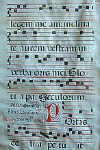 Antique Liturgical Latin Chant on VellumWith the manuscript's musical notation as neumatic, with black square notes appearing on red staves of 5 lines; 17.75