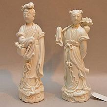 Pair Early Chinese Blanc De Chine Porcelain Figures.  Condition: Losses and one figure has a repair to the neck. Ht. 9 1/2