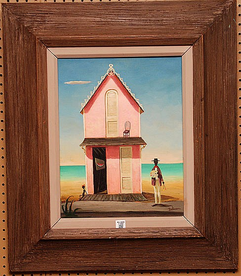 Orville Bulman (American 1904 - 1978) oil on canvas painting, in original bulman frame, Pink House 18