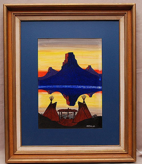 Southwest Painting by Noss Vigil dated '67 mountain reflection, 10