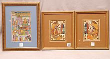 3 Miniature Persian Paintings sold together: Pr. Man & Woman are approx. 6