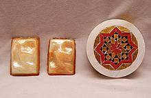 2 Tiffany Favrille turtle glass tiles (2 5/8