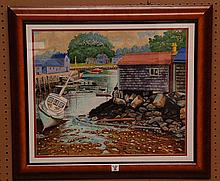R. Hal Burriss  (American 1892 - 1991) Watercolor - New England Harbor Scene, images size is 18