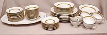 Bavarian china set, white with gold band,