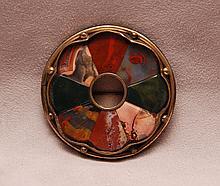 Vintage Scottish agate inlay pin, 2 1/2