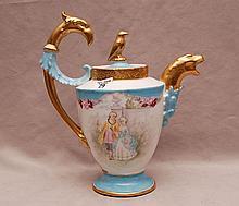 Limoges teapot, Phoenix gilded bird head handle
