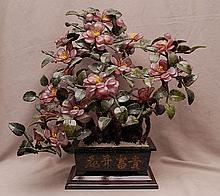 Ming tree in oriental planter, 18 1/2