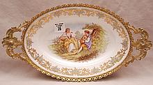 Sevres style oval platter, colonial couple in brass frame, 1 7/8