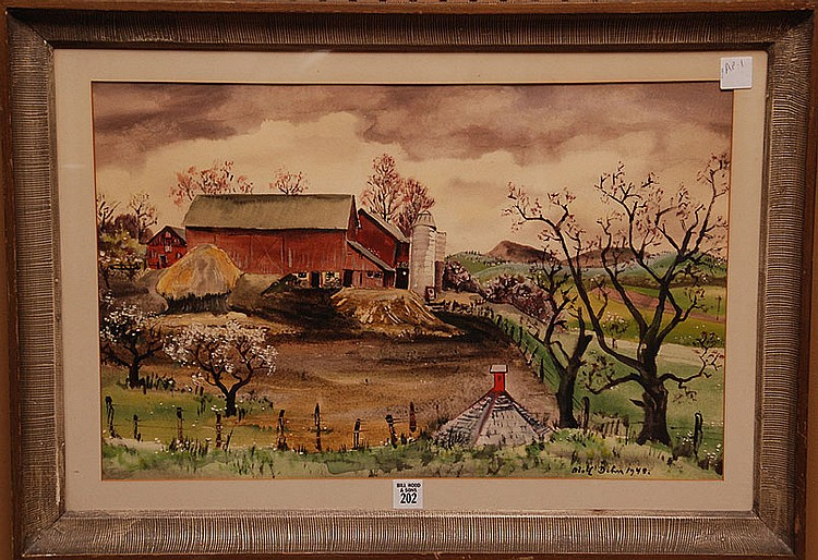 Adolf Arthur Dehn  (New York 1895 - 1968) Watercolor, Landscape Farm Scene w/ large Barn, 13