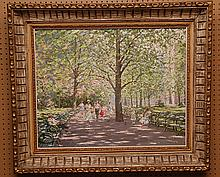 August Albo  (New York 1893 - 1963) oil on canvas, Figures in the Park, 24