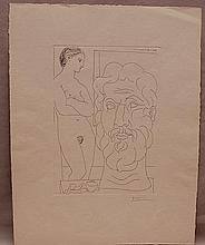 Pablo Picasso (Spanish, 1881-1973), Modele et grande tete sculptee (from La Suite Vollard), 1933, etching, from the edition of 310, signed in pencil lower right, published by A. Vollard 1939, 10 5/8