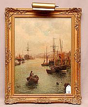 American School dated '05, oil on canvas , Harbor Scene, man in rowboat, canvas size 24