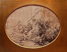 Rembrandt etching, later impression,
