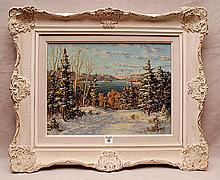 Otto Planding  (Canadian 1887 - 1964) oil on board, Snow scene, approx. 12