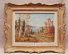 Otto Planding  (Canadian 1887 - 1964) oil on board, Fall Landscape, approx. 12