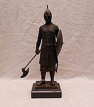 Bronze Knight with axe on marble base, 14 1/2