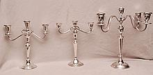 Pair of sterling weighted 3 lite candelabra AND