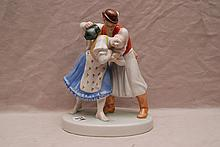Herend gentleman holding a young maiden, 10