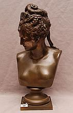 After Jean-Antoine Houdon (French 1741-1828). Bronze Bust of a Maiden with an elaborate Coiffure. Circa 1820, with the Seal of the Societe des Bronzes on the bottom left of base & also incised along the base. Size: apprx 16