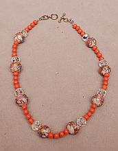 Ladies coral bead necklace with crystal & Venetian beads