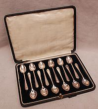 Set of 12 English sterling spoons in original case, 3-3/4