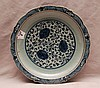 Shallow porcelain plate, blue/celadon color, crackled, Ming style, 8