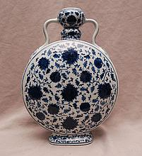 Chinese porcelain moon flask, blue and white, 13