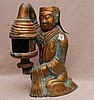 Brass Chinese figural lamp, Tang Dynasty style, signed, 17