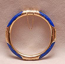 Ladies lapis bangle bracelet, 14kt
