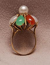 Ladies multi stone ring with pearl in center