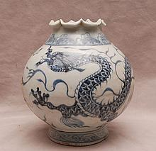Chinese dragon motif open vessel with folded rim, 7 1/4